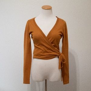 Wrap top - mustard yellow
